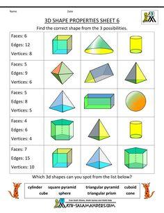 3d shapes worksheets properties 6