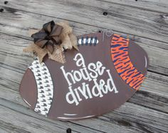 Hand Painted House Divided Football Door Hanger by NeedmoreHeart, $32.00