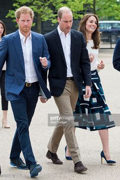 Catherine, Duchess of Cambridge and Prince William, Duke of Cambridge with Prince Harry attend the launch of Heads Together Campaign at Olympic Park on May 16, 2016 in London, England.
