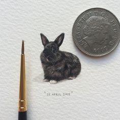 Day 31/100 (8/25 #fursdays) : Matisse die hasie.  20 x 24 mm. SOLD.  #potluck100pfa #miniature #watercolor #bunny #painting #matisse