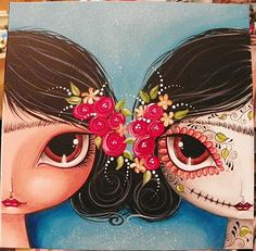 Another gorgeous painting by Megan Suarez, in honor of Dia de los Muertos. Her talent is hypnotic! This painting is also shown start to finish on her YouTube channel.