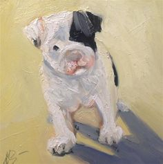 "Daily Paintworks - ""Sunshine Pug"" - Original Fine Art for Sale - © Annette Balesteri"