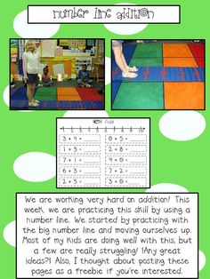 Addition with HUMAN number line.  This looks fun!