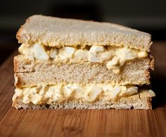 The Classic Egg Salad Sandwich: 6 hardboiled eggs cup Duke's mayo. You can add a little more if you want it googier. Grilled Cheese Recipes, Veggie Recipes, Cake Recipes, Veggie Food, Egg Salad Sandwiches, Soup And Sandwich, Monte Cristo Sandwich, Food Is Fuel, Everyday Food