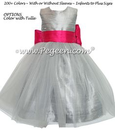 Silver gray and boing hot pink flower girl dresses with gray tulle silver gray and boing hot pink flower girl dresses with gray tulle gray flower girl dresses pinterest pink flower girl dresses hot pink flowers and mightylinksfo