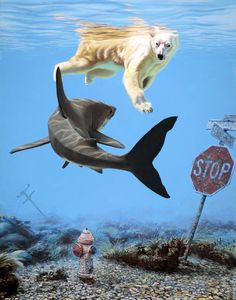 American artist Josh Keyes creates animal-based paintings that tackle environmental issues related to big changes in world's eco system Art Prints, Animal Art, Surreal Art, Creature Artwork, Juxtapoz, Surrealism, Surrealism Painting, Environmental Art, Pop Art