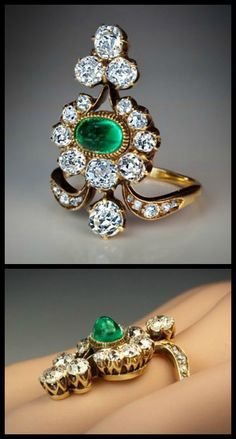 Antique Belle Epoque Russian diamond and emerald ring. Emerald Jewelry, Old Jewelry, Antique Jewelry, Vintage Jewelry, Fine Jewelry, Emerald Rings, Ruby Rings, Emerald Diamond, Blue Sapphire