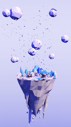 Low poly floating island                                                                                                                                                      Mais