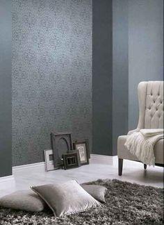 Rasch Textil Shades 223551 Blau Grau Silber Ornament Muster Vliestapete  Wohnzimmer Schlafzimmer