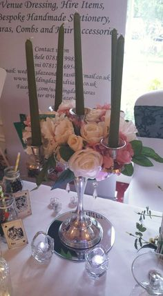 Candelabra with Floral Display at Park House Hotel, Shifnal Wedding Fayre Feb 16