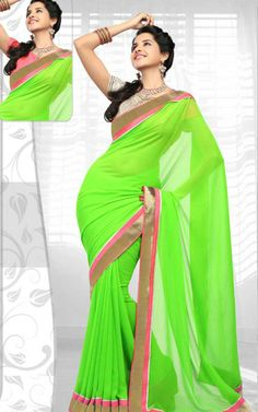 GREEN GEORGETTE LATEST SAREE - RIS 1707B