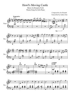 Howl's Moving Castle Theme Song for Piano | MuseScore....if ever I learn to play the piano this would be my first piece.... Brigthens my day when its raining