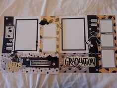 12x12 Premade Scrapbook 2 Page Layout High School Graduation College University | eBay