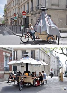 Stylé - La Cheminambule, a mobile hearth and eating place for more conviviality. Paris, France, 2013.