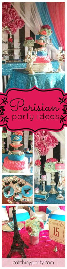 Take a trip to Paris with this glam Quinceañera. The birthday cake is amazing!! See more party ideas and share yours at CatchMyParty.com