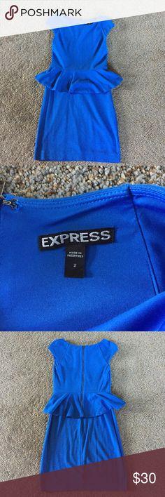 Blue peplum dress *make me an offer* Such a fun dress! Great color! Peplum waistline. Only worn twice! Make me an offer! Express Dresses Mini