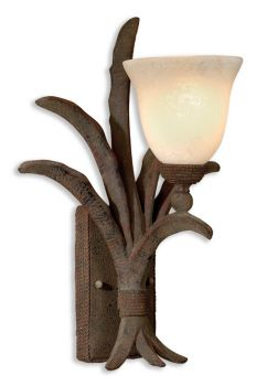 Leena, Wall Sconce - These oversized glass candles and rich rustic patinas mix very well. Rope details give this collection a relaxed and graceful look, easy to use in today's privileged casual homes.  Designer: Carolyn Kinder.