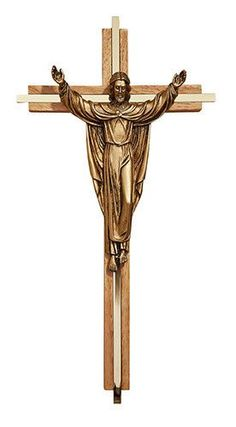 Oak Finish Risen Christ with Gold Plate Inlay By James Brennan
