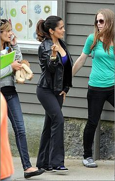 "Actress Salma Hayek was spotted on the set of ""Grown Ups 2"" in Marblehead on June 11."