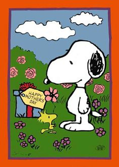 Snoopy and Woodstock Standing in a Flower Garden With a Wrapped Present and Tag That Says Happy Mother's Day Peanuts Cartoon, Peanuts Snoopy, Peanut Pictures, Snoopy Quotes, Peanuts Quotes, I Love You Mom, Snoopy I Love You, Charlie Brown And Snoopy, Comic Art