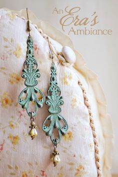 Handmade, Patina, Art Nouveau, Earrings, Neo Victorian, Upcycled, Enchanting, An Era's Ambiance Jewelry, Terah Ware, Handcrafted, Floral, Patina, Repurposed, Vintage, Edwardian