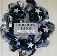 Dallas Cowboys Wreath, Cowboys Wreath, Dallas Wreath, Football Wreath, NFL Wreath, Mesh Wreath, Blue and Silver Wreath, Door Wreath by MeMaandCo on Etsy https://www.etsy.com/listing/217034447/dallas-cowboys-wreath-cowboys-wreath
