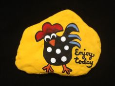 50 easy diy chicken painted rocks ideas I don't know why this was suggested to me but I almost HAVE to pin it just because it's freaking hilarious Pebble Painting, Pebble Art, Stone Painting, Stone Crafts, Rock Crafts, Arts And Crafts, Chicken Painting, Chicken Art, Rock Painting Designs
