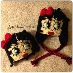 Crochet Betty Boop hat w/ear flap and without. Facebook/Littlebuddies4all.com