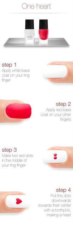 One heart nail art tutorial. Head over to Pampadour.com for more fun and cute nail art designs. Pampadour.com is a community of beauty bloggers, professionals, brands and beauty enthusiasts