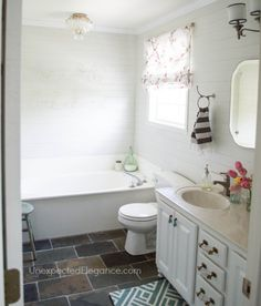 Completed Bathroom Budget Makeover and a Sparkly Light!