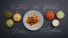 Fajitas au poulet | Cuisine futée, parents pressés Quebec, Daycare Menu, Tex Mex, Quick Recipes, Tasty Dishes, Bon Appetit, Mexican Food Recipes, Meal Prep, Chicken Recipes