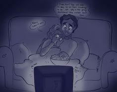 Klaine: Scary Movie Night by *Muchacha10  Hahahahaha!!! Poor Kurt and Blaine!