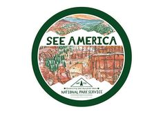 See America Sticker - in celebration of 100 years of Americas National Park Service - laminated circular sticker - hand made design, illustration, and hand lettering - full color print - 4x4 size circle - made in the USA  * There is no guarantee of longevity of sticker. © 2016 Erin Vaughan Illustration. This artwork may not be reproduced in any way.