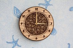 Wood carved wall clock Small flowers by LVwoodworks on Etsy, $30.00