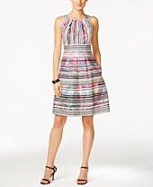 e16cb0e46391e Nine West Striped Fit & Flare Dress Fit Flare Dress, Fit And Flare, Striped
