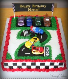 The Cars Birthday Cake Ideas - Share this image!Save these the cars birthday cake ideas for later by share this image, and Race Car Birthday, Disney Cars Birthday, Birthday Fun, Cake Birthday, Fruit Birthday, Disney Cars Cake, Birthday Ideas, 5th Birthday Cakes For Boys, Disney Cars Party