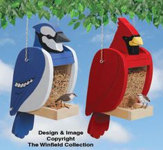 Cardinal & Blue Jay Shaped Feeder Set