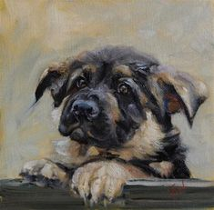 "Daily+Paintworks+-+""Shepherd+Puppy""+-+Original+Fine+Art+for+Sale+-+©+H.F.+Wallen"