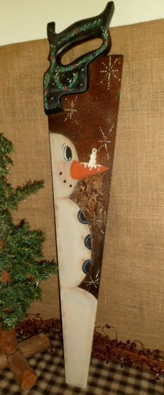 PRIMITIVE WOOD VINTAGE HAND SAW HAND PAINTED SNOWMAN CHRISTMAS COUNTRY DECOR