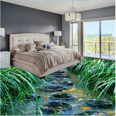 Natural Stone Path and Fishes in the Pond Print Waterproof Floor Murals - Work-toptrendpin. Floor Design, Kids Room Wallpaper, Home Decor, House Interior, Flooring, Floor Wallpaper, Living Room Decor Modern, Floor Murals, Bedroom Flooring