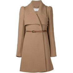 Chloé belted coat ($2,050) ❤ liked on Polyvore featuring outerwear, coats, jackets, coats & jackets, brown, long sleeve coat, beige coat, belted coat, belt coat and brown coat