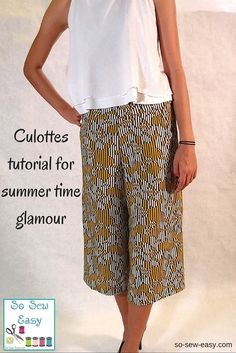 Culottes tutorial -- hmmm; haven't sewn clothes. this might be a fairly easy starter
