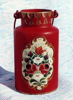 lechera Bauern Painted Milk Cans, Vintage Milk Can, Old Milk Cans, One Stroke Painting, Bottle Painting, Painted Furniture, Folk Art, Art Decor, Pots