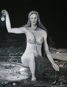 """Žemyna is the goddess of Earth in Lithuanian mythology. She personifies fertility. The word žemė in Lithuanian means """"earth"""". In this image, the Goddess is a life giver and protector; she vivifies soil after drought with pure water extending from her veins. Ordinarily, she is thought of a mother or pregnant female carrying out Lithuanian woman's features."""
