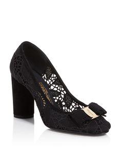 675.00$  Buy now - http://viviw.justgood.pw/vig/item.php?t=7rq3wl0607 - Salvatore Ferragamo Estelle Lace High Block Heel Pumps
