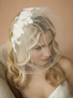 Handmade Tulle Birdcage Wedding Veil with Beaded Lace Applique - Affordable Elegance Bridal -