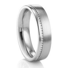 Palladium & Diamond Mens Wedding Band #TitaniumJewelry