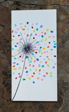 colorful fingerprint art for kids - Mother's day gift idea with a dollar store canvas Fun Crafts, Arts And Crafts, Paper Crafts, Kids Paint Crafts, Class Art Projects, Preschool Auction Projects, Art Auction Projects, Summer Art Projects, Collaborative Art Projects