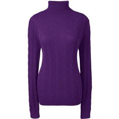 Lands' End Women's Petite Cable Turtleneck Sweater ($59) ❤ liked on Polyvore featuring tops, sweaters, purple, purple sweater, cable-knit sweater, cable turtleneck sweater, purple turtleneck sweater and cotton sweaters