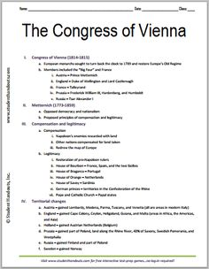 Congress of Vienna, 1814-1815 - Free Printable History Outline for Grades 7-12